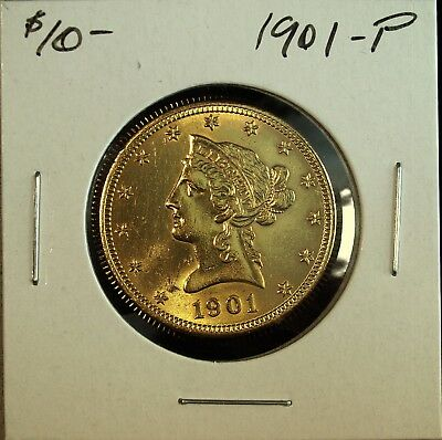 1901- P $10 Gold Eagle Almost Uncirculated ☆☆ Gorgeous Details ☆☆ Old Cleaning