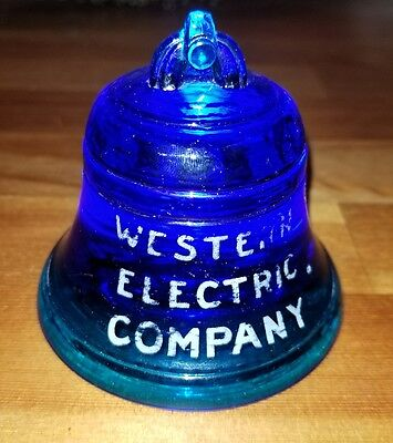 Vintage Blue Glass Western Electric Telephone Bell Advertising Paperweight