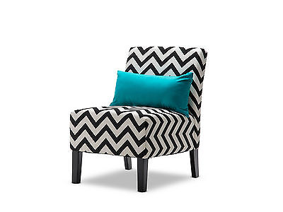 Black & Ivory Chic Fabric Accent Chair - Occasional Arm Lounge Chair