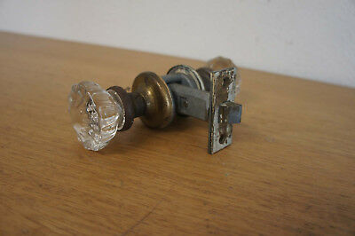 Antique Vintage Glass Door Knob Handle Brass Estate By National