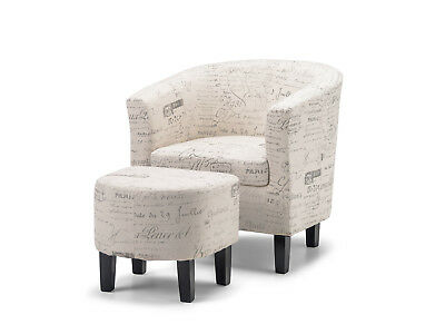 Tub Chair | Occasional Chair | Lounge Arm Chair - French Script with Ottoman
