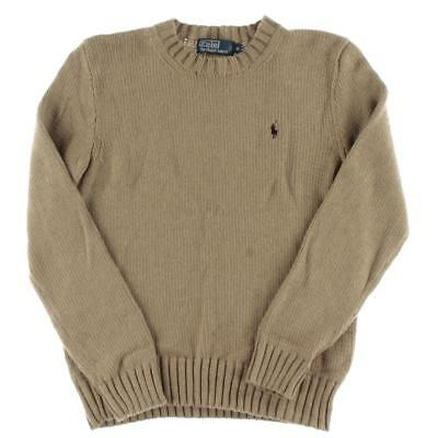 Polo Ralph Lauren 9764 Mens Tan Cotton Ribbed Trim Pullover Sweater S BHFO
