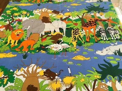 Vintage 1970s Rainbow Bright Jungle Elephants Animals Cotton Fabric 194 x 116cm