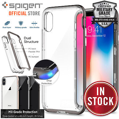 iPhone X Case, Genuine SPIGEN Neo Hybrid Crystal Bumper Cover for Apple