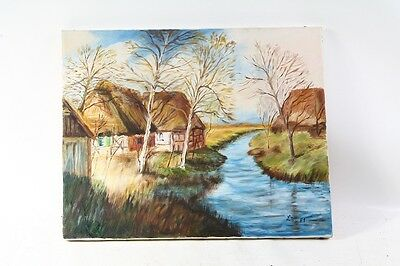 Pretty Old Picture Painting Canvas Canvas Stretcher Frame Art Landscape