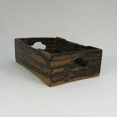 H601: Japanese OLD Tobacco tray made from high-class wood KURO-GAKI
