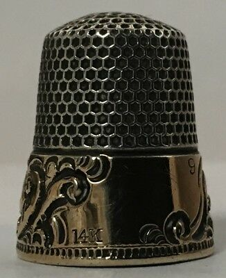 Ketcham & McDougall - 14K Gold Banded Sterling Thimble - Style 112 - Extra Heavy
