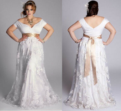 Plus Size Wedding Dress Cap Sleeve Lace Bridal Gown Custom Made 16-18-20-22-24
