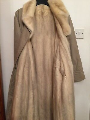 Vintage Burberry Trench Coat Lined With Blonde Mink Fur Circa 1960s