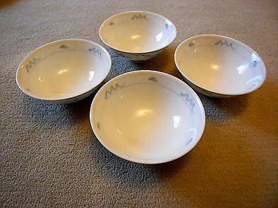 Set of Four Signed Japanese Rice Bowls with Delicate Blue Contemporary Decor