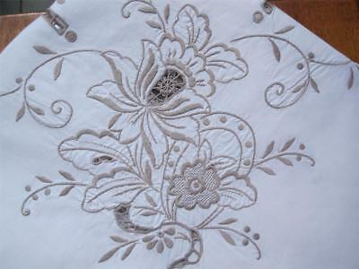 Vintage Hand Embroidered TABLECLOTH in Taupe 'NEVER USED'