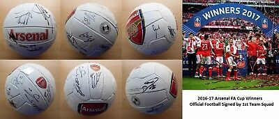 2016-17 Arsenal FA Cup Winners Squad Signed Official Football (11471)