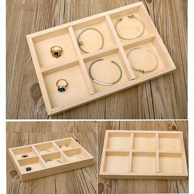 6 Rejillas Plain Wood Tray Joyería Display Holder Treasure Chest Caja de