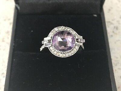 18ct Solid White Gold  Amethyst With Diamond Ring,  Valuation $2140