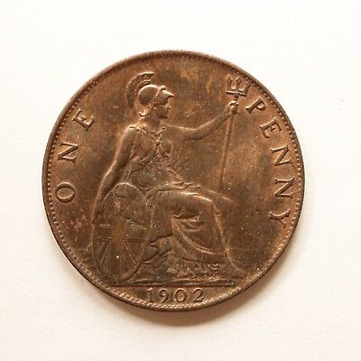 1902 Edward VII Penny Really good detail Some lustre cover SNo26479