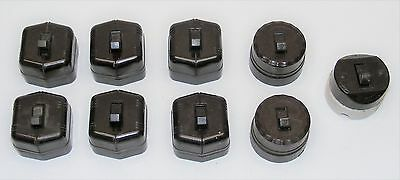 Lot of 9 Assorted Vintage Brown Surface Mount Toggle Switch NOS