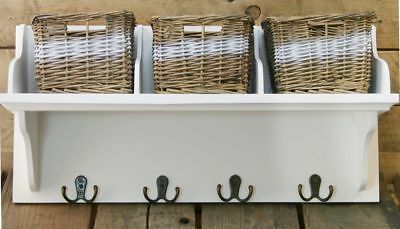 Wicker Storage Unit With 3 Baskets And Coat Hook Hangers