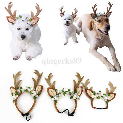 Dog Cat Christmas Headband Reindeer Antlers With Flowers For Pet Labrador Ease