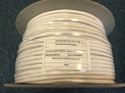 100m BT Telephone Cable CW1308 4 Pair 8 Wire White Internal Phone Cable