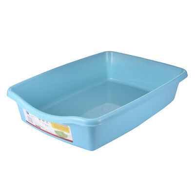 Cat Litter Tray Pet Kitten toilet Training Hooded House Pan Paws Plastic Blue
