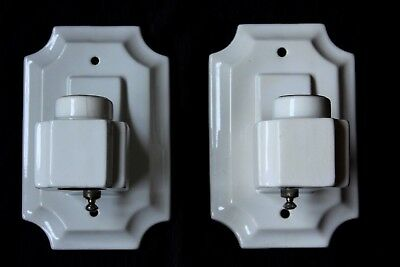 Pair of White Porcelain Ceramic Double Socket Wall Lighting Fixture Sconces