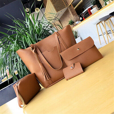 4pcs/set Women Leather Handbag Lady Shoulder Bags Tote Purse Messenger Satchel