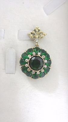 925 Sterling Silver Handcraft Jewelry Green Emerald Ladie's  Pendant