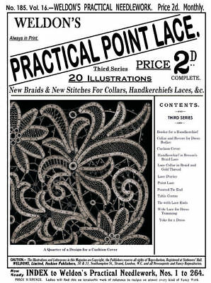 Weldon's 2D #185 c.1900 Practical Point Lace Needle Lace Instruction (3rd Book)
