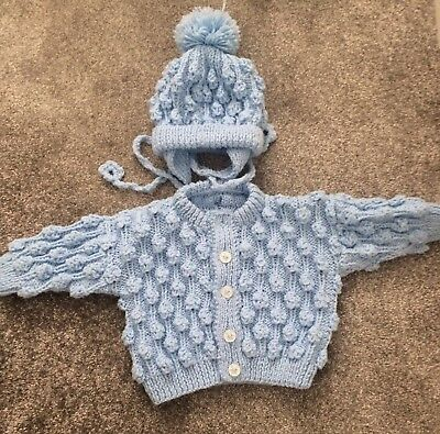 Hand Knitted Baby Boy Cardigan And Bobble Hat 0-3 Months