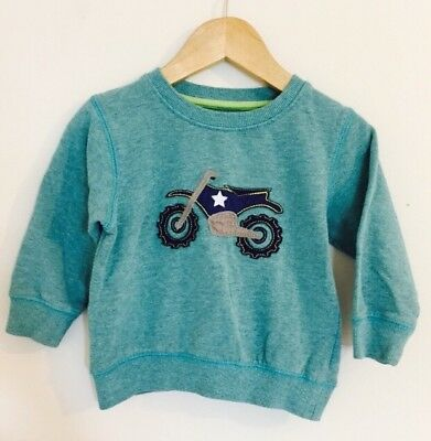 Baby Boys Next Motorbike Sweatshirt Jumper Blue Green 12-18m 1-1.5 Yrs