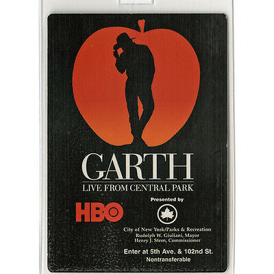 Garth Brooks authentic 1997 Laminated Backstage Pass Live From Central Park HBO