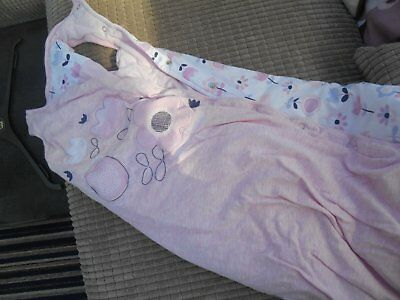 baby girl grobag, age 12-18 months, pink and white