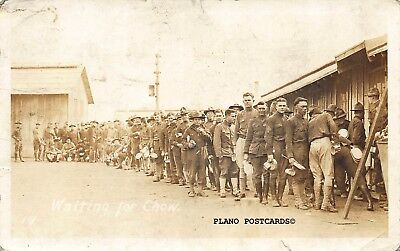 """Ft. Sill, Oklahoma """"Waiting For Chow""""  Wwi Era"""" Rppc Real Photo Postcard"""
