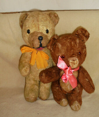 PAIR OF SWEET OLD VINTAGE TEDDY BEARS sold as found in recent house clearance