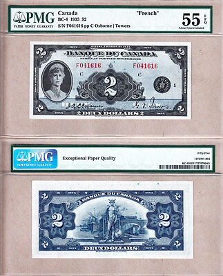 PMG AU55 EPQ BC-4 1935 $2 Queen Mary- Scarcer French Variety Banque Du Canada
