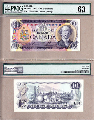 1971 $10 *TG Replacement Note from Bank of Canada; PMG CHOICE UNC63. BC-49cA