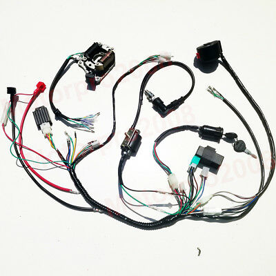 Kick Electric Start Full Wiring Harness Loom Pit Bike Atv Quad 50 90