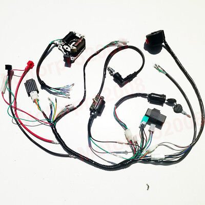 50 110cc 125cc atv full wiring harness electric start engine loom quad dirt  bike