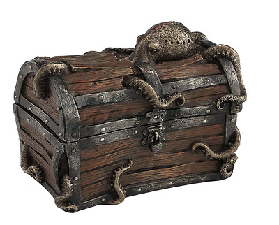 Octopus Cracked Treasure Chest Trinket Box Sculpture Statue Figurine
