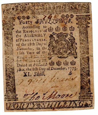 Pennsylvania Colonial Note- Dec. 8, 1775. Forty Shillings.