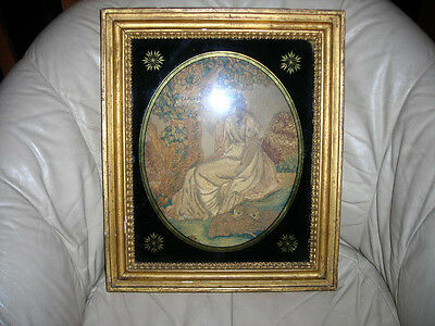 Amazing Signed Early Antique Folk Art 1800 Handsewn Silk Tapestry In Frame 15X17