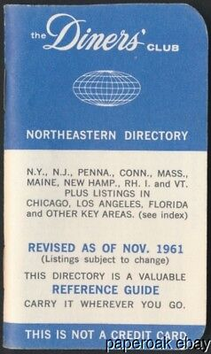 1961 The Diners' Club Booklet Northeastern Directory