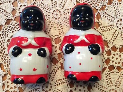 Vintage Black Americana Salt And Pepper Shakers Mammie
