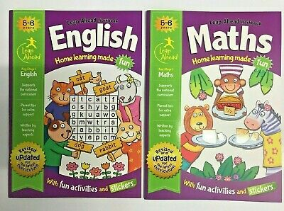 LeapAhead English Maths Home Learning 2 Educational Workbooks Year Age 5-6 KS1