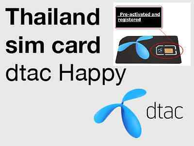 DTAC - HAPPY Thailand Prepaid Simcard with Credit 1,000THB