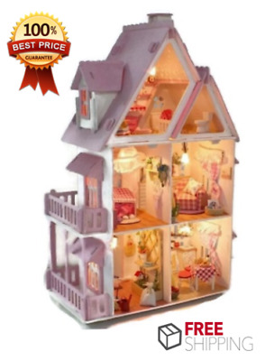 Large Wooden Kids Doll House Barbie Kit Girls Play Dollhouse , Christmas Gift
