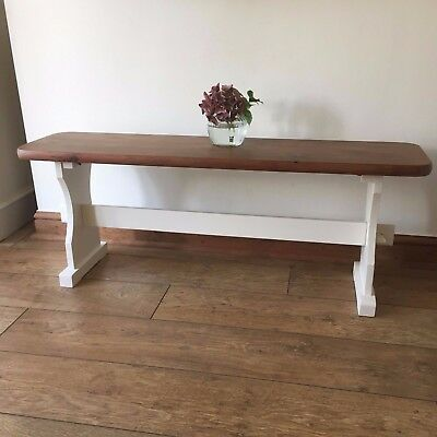 Shabby Chic Solid Pine Bench hand painted in Farrow and Ball.