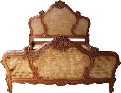 """4' 6"""" Double French Mahogany & Rattan Reproduction Antique Bed Wooden Handmade"""