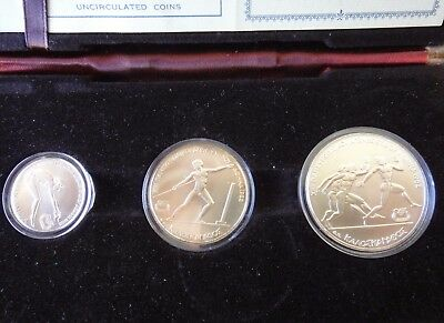Greece: 1982 Silver Proof Set Of 100, 250 And 500 Drachmas Commemorating Games