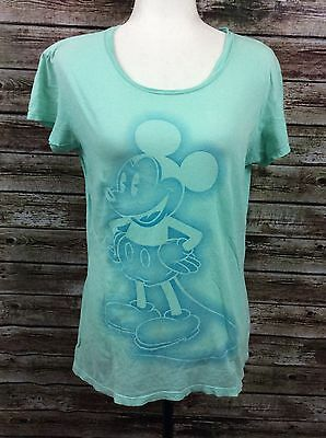 Mickey Mouse L Mint Green S/S Cotton T-Shirt Tee Walt Disney World Authentic